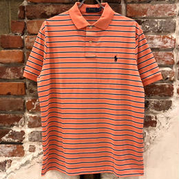 POLO RALPH LAUREN 1POINT STRIPE POLO SHIRTS-PEACH TREE