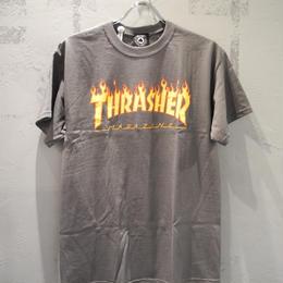THRASHER MAGAZINE FLAME LOGO T SHIRTS - CHARCOAL  スラッシャー マガジン フレーム ロゴ Tシャツ チャコール