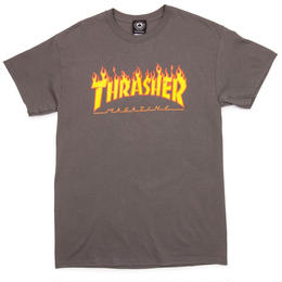 THRASHER MAGAZINE FLAME LOGO T SHIRTS - CHARCOAL