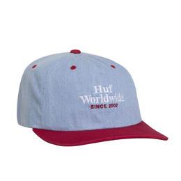 HUF WORLDWIDE DENIM 6-PANEL HAT - Resort Red