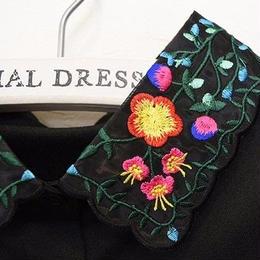 ■ 可愛い梅のお花刺繍オーガンジー素材の付け襟【No.0135】