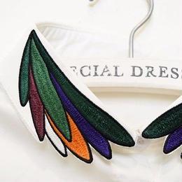 ■ ビターなこっくり色の羽刺繍 付け襟【No.0143】