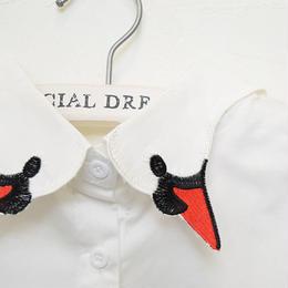 ■ 赤いくちばしの白鳥 刺繍付け襟 【No.0078】