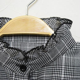 ■ ベーシックデザイン グレンチェック生地スタンドカラー襟の付け襟【No.0171】