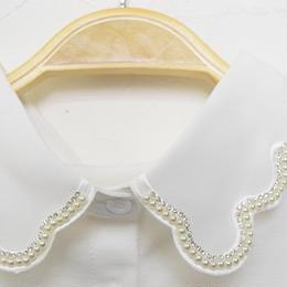 ■ パールとキラキラ石付きのもくもく刺繍付け襟【No.0177】