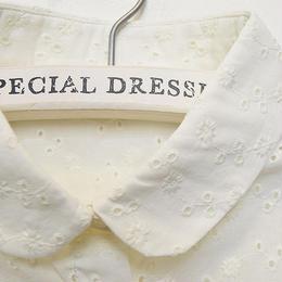 ■ 小さな小花刺繍きなり色のコットン付け襟 【No.0167】