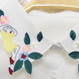 ■ お昼寝ガールとお花刺繍の付け襟【No.0176】