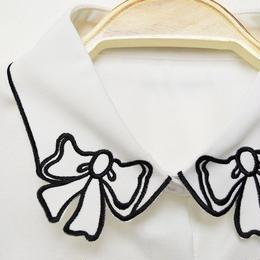 ■ 白黒モノトーンリボン刺繍付け襟【No.0152】