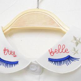 ■ 青いマツゲとお目目刺繍の付け襟【No.0178】