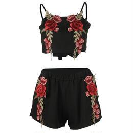 【クリックポストOK】【取り寄せ】2color 花柄刺繍ショート丈ツーピースセット