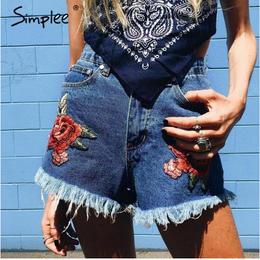 【取り寄せ】【クリックポストOK】【Simplee】花柄刺繍フリンジデニムショートパンツ BT181
