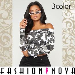 【Fashion Nova】3color オフショルダーカモフラクロップデニムジャケット