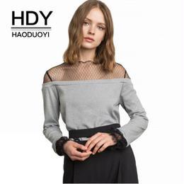 【Haoduoyi】【取り寄せ】メッシュネックフレアレーススリーヴ長袖スウェット B92Q80125