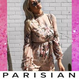 【取り寄せ】【Parisian】フラワープリントシフォンプレイスーツ