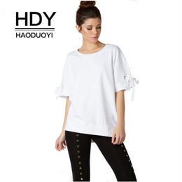【Haoduoyi】【取り寄せ】タイ付きスリーブボーイフレンド半袖Tシャツ A12Q51X95