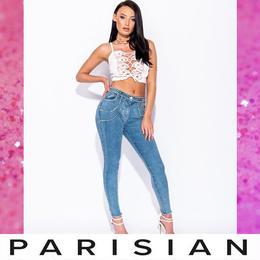 【取り寄せ】【Parisian】ラインストーンスキニーデニムロングパンツ