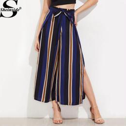 【Sheinside】【取り寄せ】ストライプサイドスリットハイウエストロングワイドパンツ pants170620301