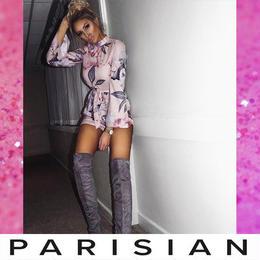 【取り寄せ】【Parisian】フラワープリントフレアスリーヴプレイスーツ