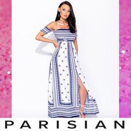 【取り寄せ】【Parisian】オフショルダーフローラルスリットマキシドレス