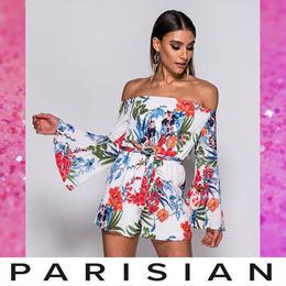 【取り寄せ】【Parisian】トロピカルオフショルダープレイスーツ/ホワイト