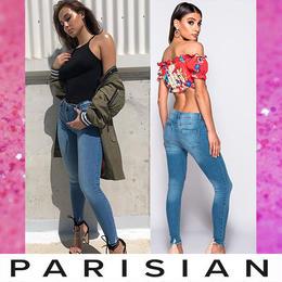 【取り寄せ】【Parisian】ダメージスキニーデニムロングパンツ