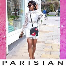 【取り寄せ】【Parisian】総レース長袖ボディコンミニワンピース/ホワイト