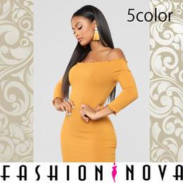 【Fashion Nova】5color オフショルダーボディコンミニドレス