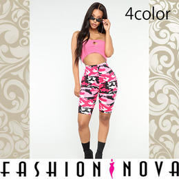 【Fashion Nova】4color カモフラージュバイカーショーツ
