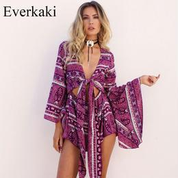 即納あり【取り寄せ】【Everkaki】【クリックポストOK】2color エスニック柄長袖ショートロンパース LTCD0008