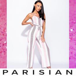 【取り寄せ】【Parisian】マルチストライプサイドスリットジャンプスーツ