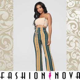 【Fashion Nova】ハイウエストマルチストライプフレアロングパンツ