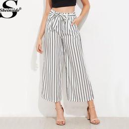 【Sheinside】【取り寄せ】ストライプハイウエストロングワイドパンツ pants170620302
