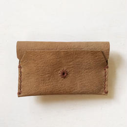 Leather Card Case/ BEIGE-a