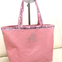 オリジナル スパンコールトートバッグ(イニシャル入れ) ピンク〈B-012〉