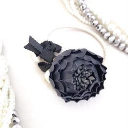 ブラック花ヘアゴム〈HA-168〉