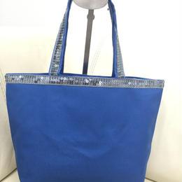オリジナル スパンコールトートバッグ(イニシャル入れ) ブルー 〈B-013〉