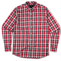 HUF POPLIN SHADOW PLAID WOVEN RED
