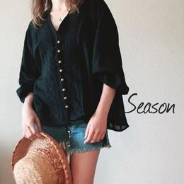 韓国ファッション★コットンブラウス/アンティークボタン レースブラウス/ガーゼシャツ/ブラック
