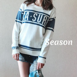 春物セール★ユニセックス★ ジャガードニット/サーフロゴ/ホワイト
