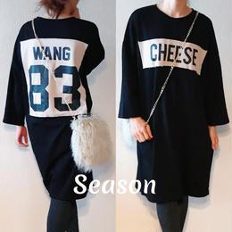 韓国ファッション★パッチロゴプリント ビッグTシャツ ワンピース/ブラック