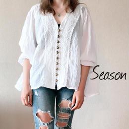 韓国ファッション★コットンブラウス/アンティークボタン レースブラウス/ガーゼシャツ/ホワイト
