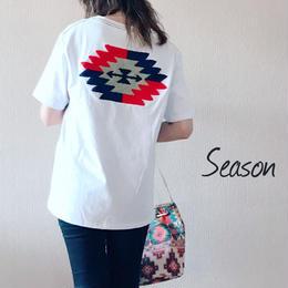 ユニセックス★オルテガ柄 Tシャツ/サガラ刺繍 半袖Tシャツ /ホワイト