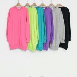 春物セール★韓国ファッション★ロング丈トレーナー★カラフルプルオーバー /スウェット ワンピ