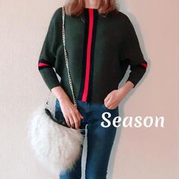 韓国ファッション★ドルマンニット/ラインカーキ