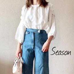 韓国ファッション★春夏フラワーブラウス/肩あきフラワーモチーフデザインシャツ