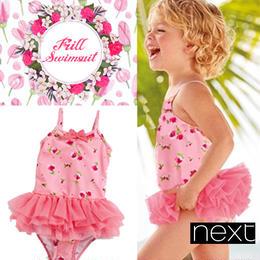【早割 20%OFF】★NEXT 可愛い女の子 ピンク ローズプリント チュチュ スイムスーツ  水着★