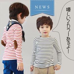 ★ひじがオシャレなシンプルボーダーロングTシャツ★♪(トップス)★