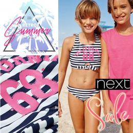 【早割 20%OFF】★NEXT  Navy California Bikini 女の子 ビキニ水着 可愛いボーダーリボン68★