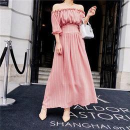 オフショルシフォンワンピースドレス