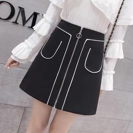フロントチャック台形スカート